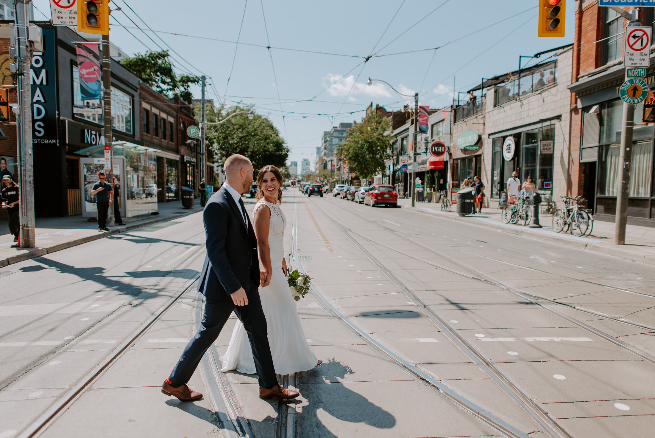 Bride and Groom Crossing the street