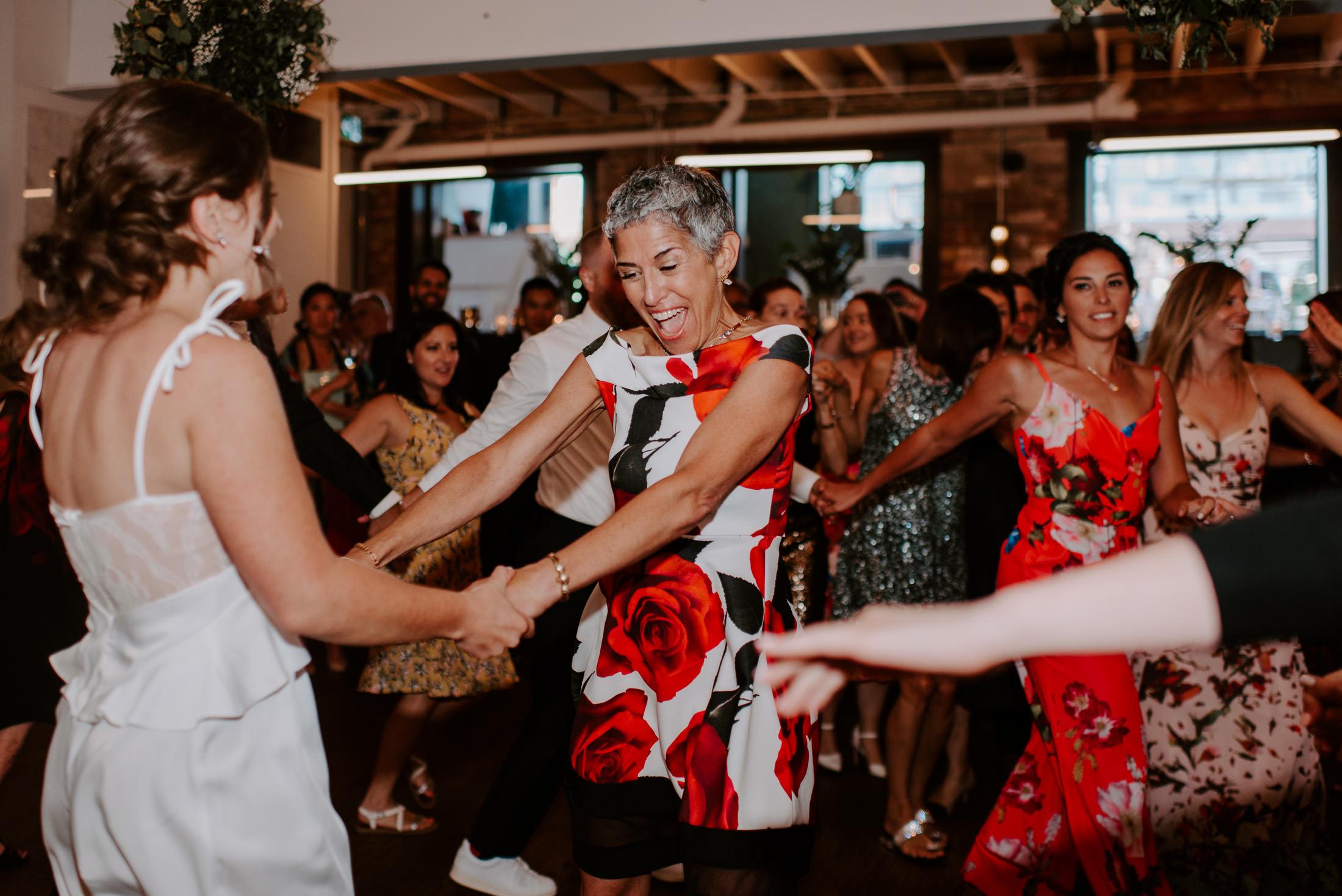 Wedding dancing bride and mom