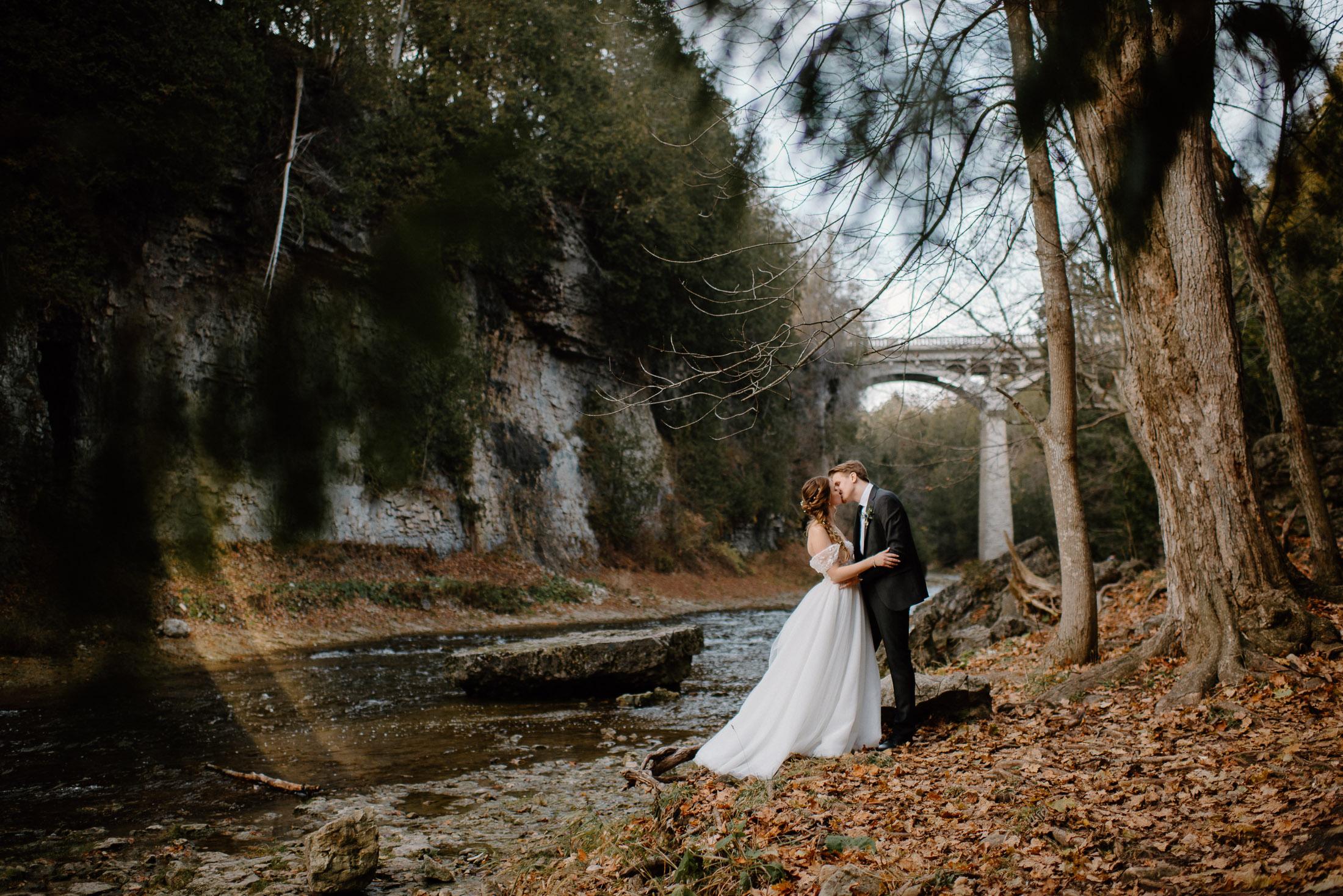 Haley and Aidan Wedding Photo in Elora Gorge in Ontario Canada